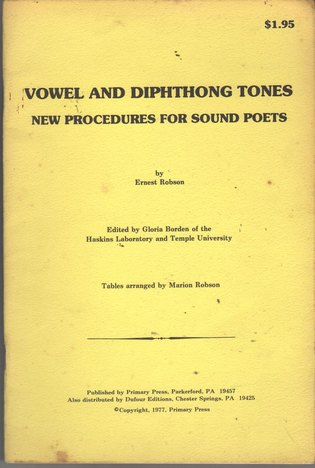 ROBSON, ERNEST - Vowel and Dephthong Tones: New Procedures for Sound Poets